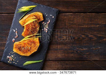 Summer Snack, Grill Bar, Tasty Barbecue Pumpkin. Summer Delicious Healthy Food For Vegetarians, Week