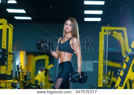 Slim Athletic Woman Pumping Up Muscles With Dumbbells In The Gym. Front View. Muscles Woman Showing