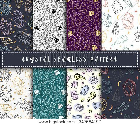 Crystal Seamless Pattern - Colorful Rainbow Crystals Or Gems On White Background, Endless Background