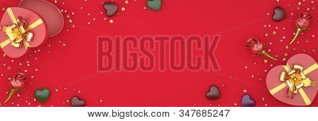 Happy Valentines Day, Valentines Day Background, Red Rose Flower Heart Shape Gift Box , Chocolate Ca