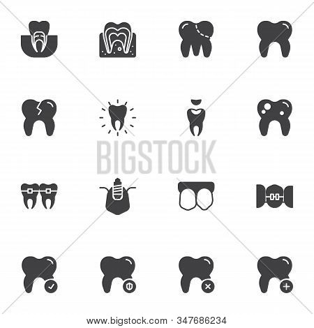 Dental Health Care Line Icons Set. Linear Style Symbols Collection, Dentistry Outline Signs Pack. Ve