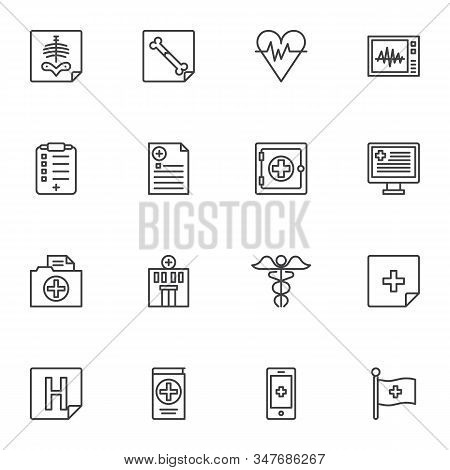 Medical Treatment Line Icons Set. Linear Style Symbols Collection, Outline Signs Pack. Vector Graphi