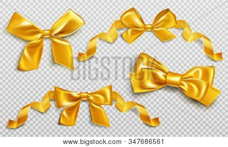 Gold Bows With Curly Ribbons Set. Collection Shiny Golden Festive Elements For Wrapping Gift Box, Pr
