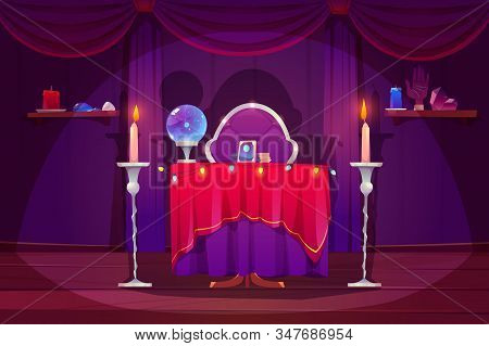 Fortune Teller Room With Magic Ball And Tarot Cards On Table With Red Cloth. Vector Cartoon Interior