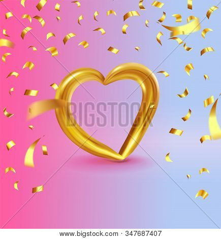 Realistic Gold Metallic Heart With Falling Golden Confetti. Vector Valentines Heart On Modern Color