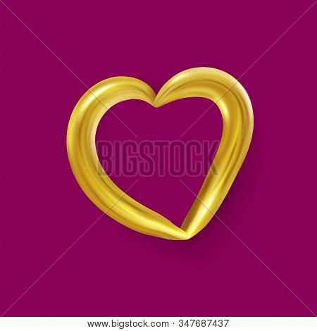 Realistic Gold Metallic Heart . Vector Valentines Heart. Vector Illustration Eps10
