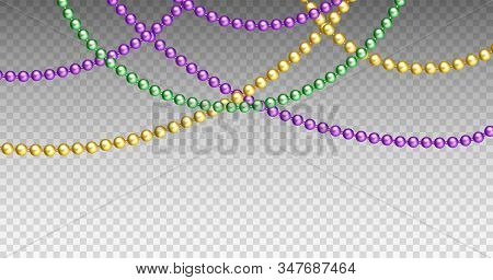 Vector Illustration Of Mardi Gras Beads In Traditional Colors. Decorative Glossy Realistic Elements