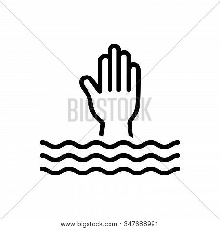 Black Line Icon For Overwhelm Swamp Submerge Engulf Bury Deluge Flood Inundate Help