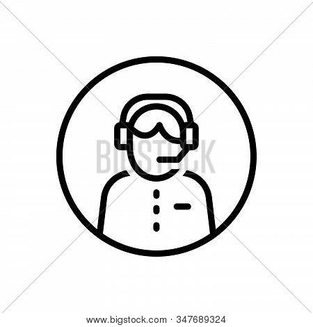 Black Line Icon For Customer-service Headset Call-center Helpline Operator Consultant Telemarketing