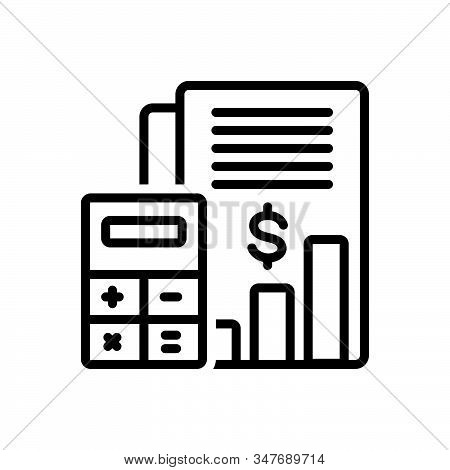 Black Line Icon For Budget-accounting Budget Bank Money Cash Currency Finance Management Calculator