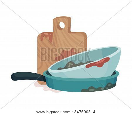 Pile Of Dirty Kitchen Utensils And Crockery Left After Lunch Vector Illustration