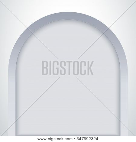 White Arch Niche. Recess In A Wall In Arch Shaped . Editable Background Vector Illustration.