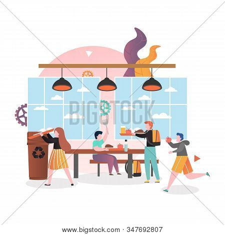School Canteen Vector Concept For Web Banner, Website Page