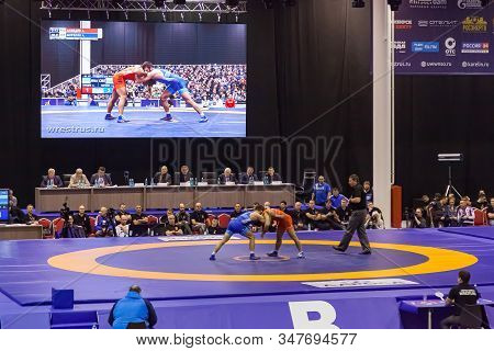 Novosibirsk, Russia - 01.18.2020: Russian Championship In Greco-roman Wrestling With Two Wrestlers I