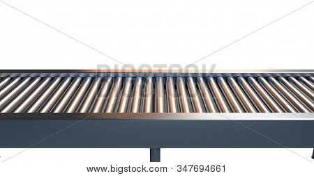 A Section Of A Regular Empty Roller Conveyor Made Of Chrome And Stainless Steel On An Isolated White