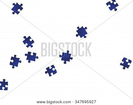 Business Mind-breaker Jigsaw Puzzle Dark Blue Pieces Vector Background. Group Of Puzzle Pieces Isola