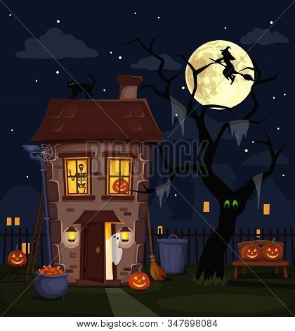 Halloween Night City Landscape With A Haunted House, Jack-o-lanterns, Tree And Full Moon In The Sky.