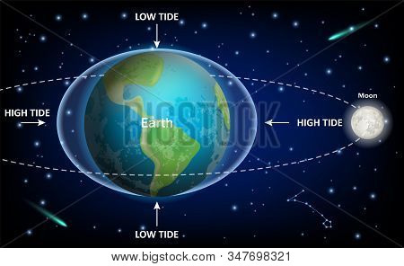 Low And High Moon Tides, Vector Education Diagram