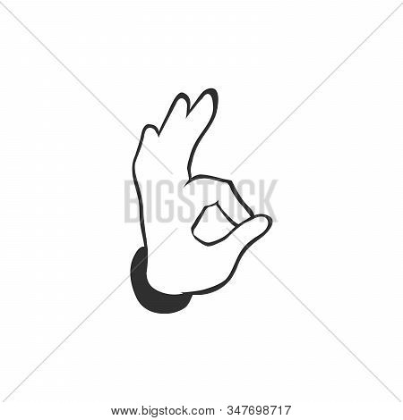 Okay Sign. Hand With Index And Thumb Making Circle, Other Fingers Up. Icon. Vector Illustration On A