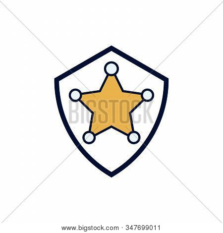 Sheriff S Badge Vector Icon For Sheriffs Star, Western, Police, Deputy, Authority Concept Flat Style