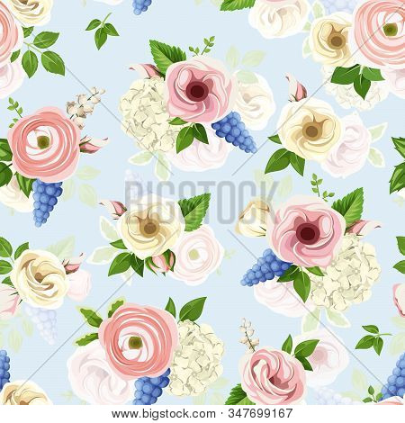 Vector Seamless Pattern With Pink, Blue And White Lisianthuses, Ranunculus, Hyacinth, Hydrangea And