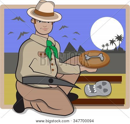 This Illustration Represents An Archaeologist While Finding Bones Of Prehistory Period.