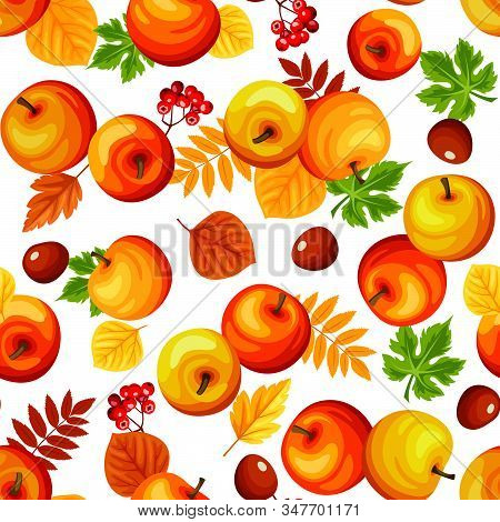 Vector Seamless Background With Colorful Autumn Apples, Leaves And Rowanberries On White.