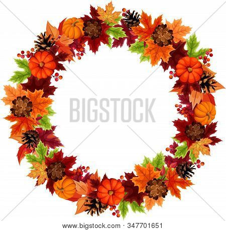 Vector Autumn Wreath With Orange Pumpkins, Pinecones And Colorful Leaves.