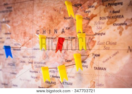 Map of China with pinned Wuhan city as an epidemic epicenter of coronavirus