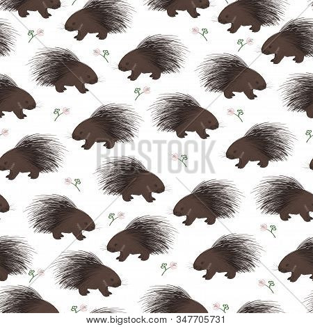Vector Seamless Pattern With Cute Cartoon Porcupines And Flowers.