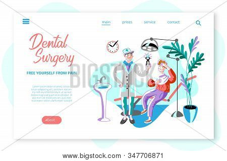 Dental Surgery Webpage Template. Dentist Pulling Out Bad Tooth Clipart. Man Getting Teeth Treatment
