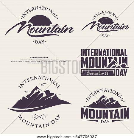 Set Of Abstract Vector Nature Or Outdoor Mountain Day. Mountains And Travel Icons For Tourism Organi