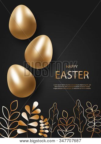 Golden Easter eggs holiday. 3d easter background. 3d realistic silver eggs. Christ is risen holiday. Vector holiday illustration of gold easter eggs for easter. Christian symbols of religion holiday. The egg is ready holiday. Decor Elements, vector illust