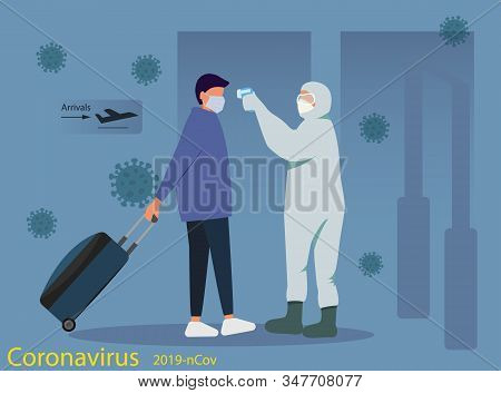 The concept of quarantine coronavirus Coronavirus in China. Remote measurement of the temperature of passengers at the airport. Health, medicine. Website design, print. New coronavirus 2019-nKoV, concept of quarantine coronavirus. MERS-Cov middle East res