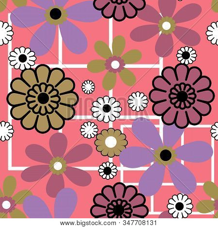 Cartoon Bright Colorful Flowers Seamless Pattern Floral Background