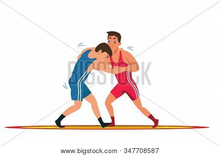 Greco Roman Wrestling Flat Vector Illustration. Young Wrestlers, Professional Fighters Cartoon Chara