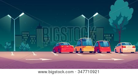 Cars On City Parking With Street Lights At Night. Vector Cartoon Illustration With Modern Automobile