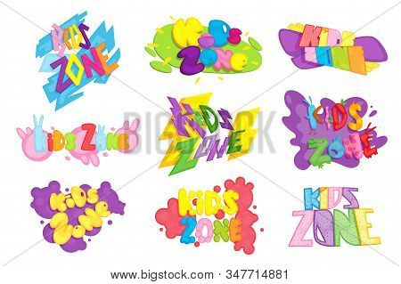 Kids Zone Colorful Banner. Poster For Children Playroom. Bright Decoration For Childish Playground.