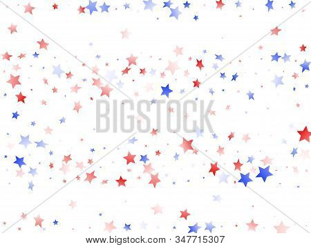 American Independence Day Stars Background. Holiday Confetti In Usa Flag Colors For Patriot Day.  Na