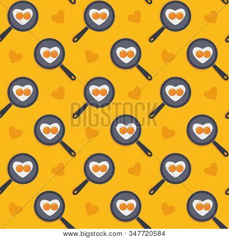 Cartoon Sweet Seamless Yellow Pattern. Heart Shape Fried Eggs On The Pan. Valentines Day Concept. Ea