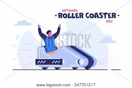 Business Man In Suit With Case Riding A Roller Coaster With Arrow To The Goal. Entrepreneur Going To