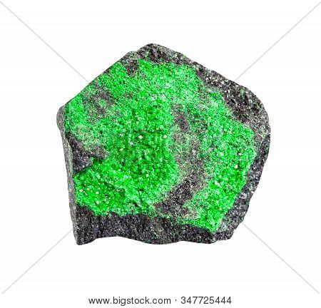 Closeup Of Sample Of Natural Mineral From Geological Collection - Druse Of Uvarovite (green Garnet)