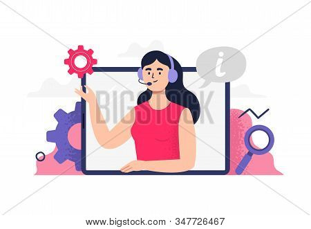 Beautiful Girl Answers Phone Calls, Chatting With Customers And Help Clients. Flat Vector Illustrati