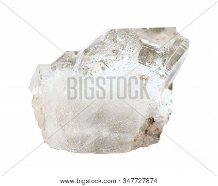 Closeup Of Sample Of Natural Mineral From Geological Collection - Raw Rock Crystal (colorless Quartz