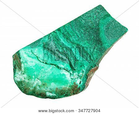 Closeup Of Sample Of Natural Mineral From Geological Collection - Raw Malachite Stone Isolated On Wh
