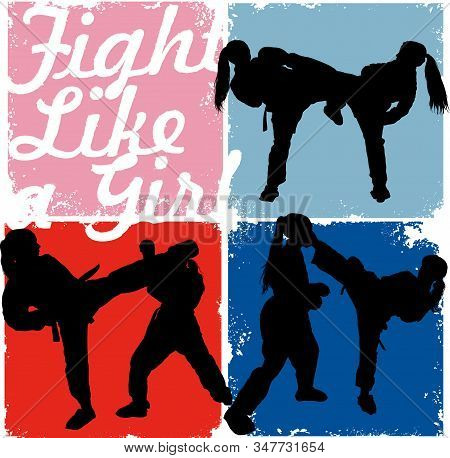 Karate Girls Professionally Strike Each Other On A Colored Background And The Inscription  Fight Lik