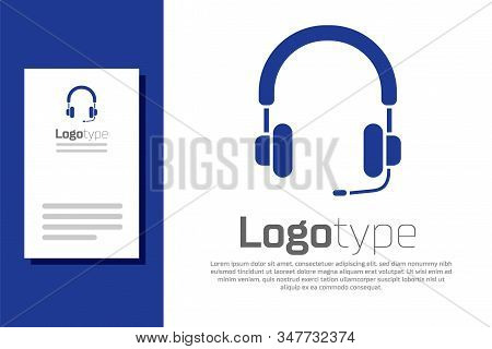 Blue Headphones Icon Isolated On White Background. Earphones. Concept For Listening To Music, Servic