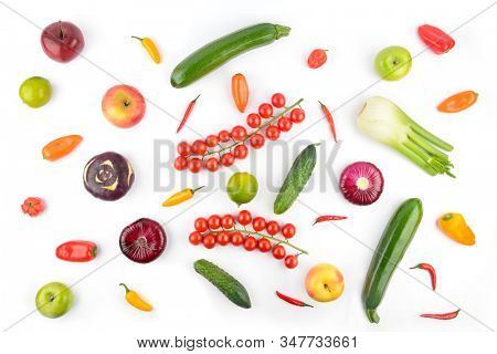 Top view of healthy vegetables and fruits isolated on white background