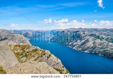 The Norwegian Fjords. Preikestolen, Pulpit Rock, Lysefjord.