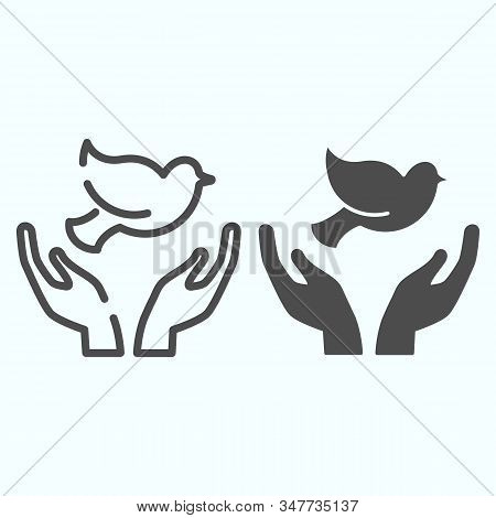 Dove In The Hands Line And Solid Icon. Dove Of Peace Vector Illustration Isolated On White. Dove Out